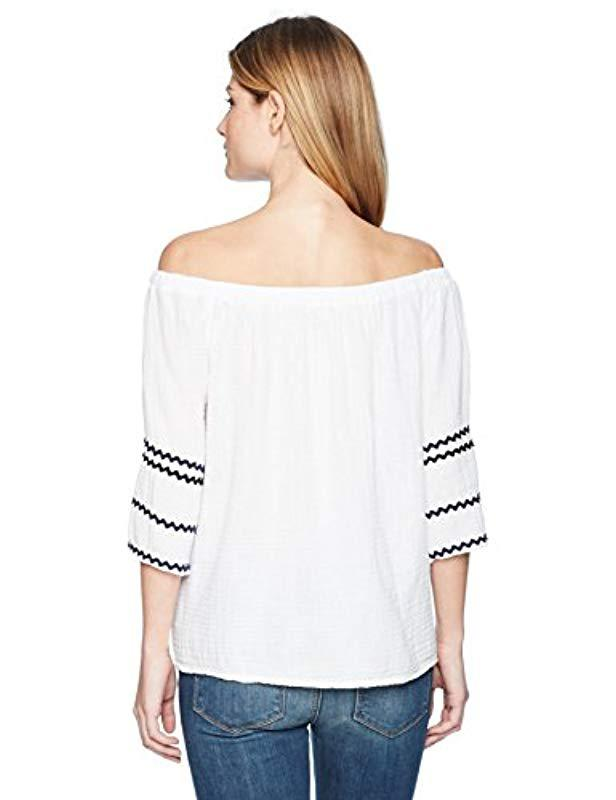 4a798ce6440 Lyst - Michael Stars Ric Rac Double Gauze Off-shoulder Top in White - Save  41%