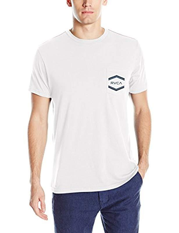 68c3f1afc2bc63 Lyst - RVCA Double Hex Pocket Tee in White for Men
