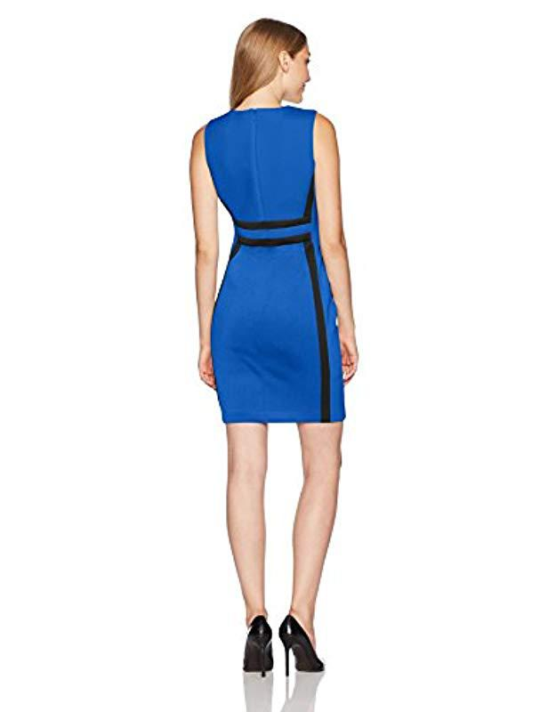 0f6ca0a2277 Lyst - Calvin Klein Petite Sleeveless Color Block Sheath Dress in Blue