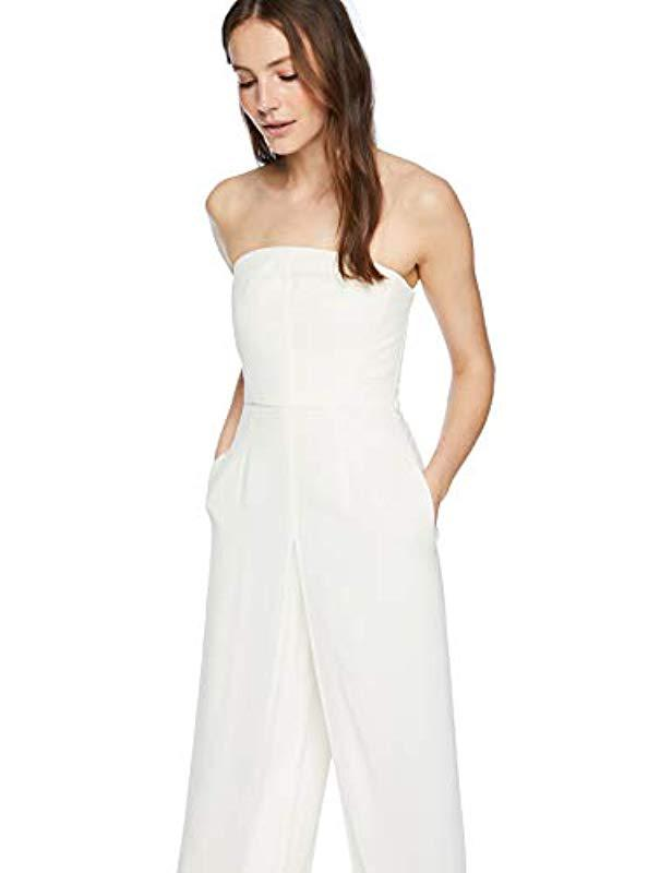 0bb50477117 Lyst - Halston Strapless Jumpsuit With Flowy Pants in White