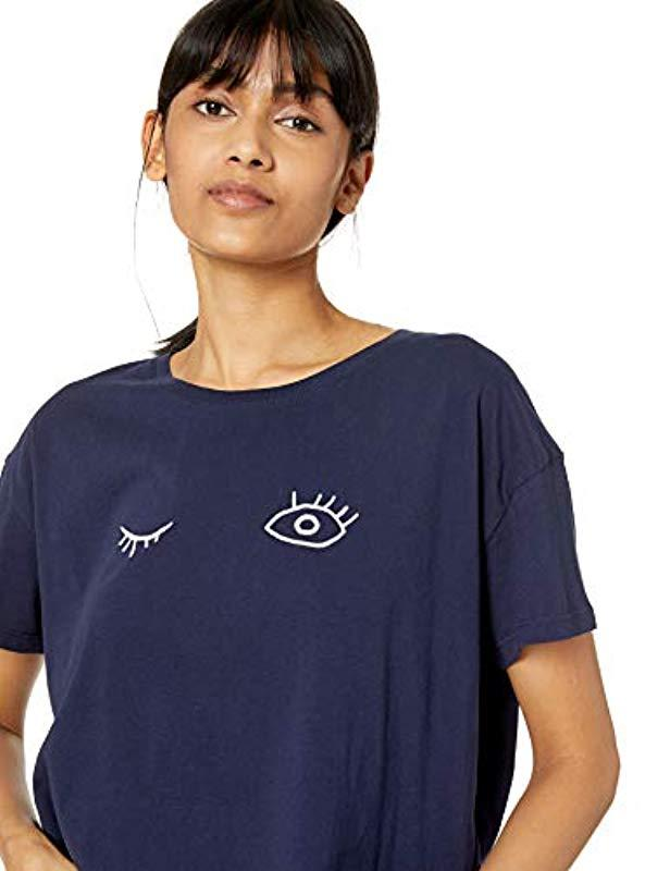 6a0cd4e9009 French Connection Wink Embroidery Crop Tee in Blue - Lyst