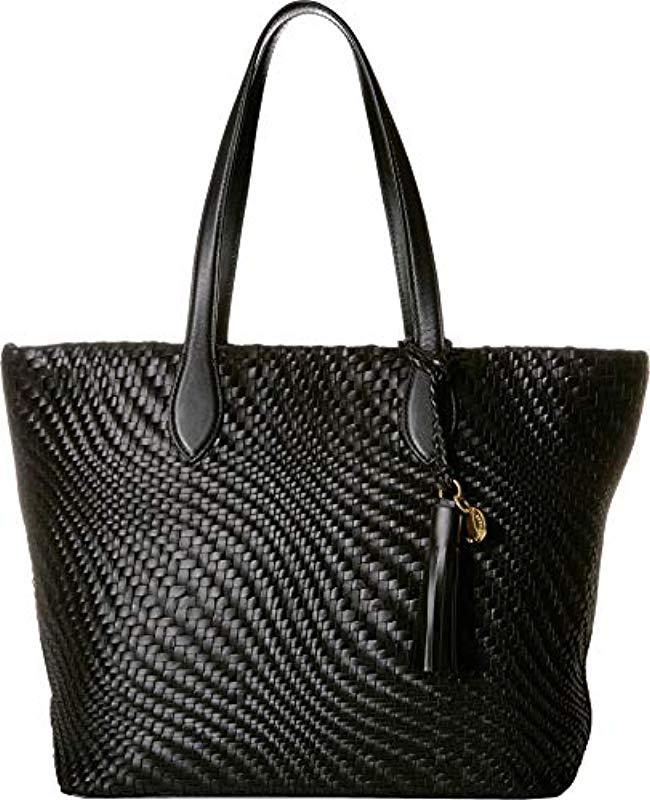 558072e639 Lyst - Cole Haan Genevieve Woven Leather Tote Bag in Black