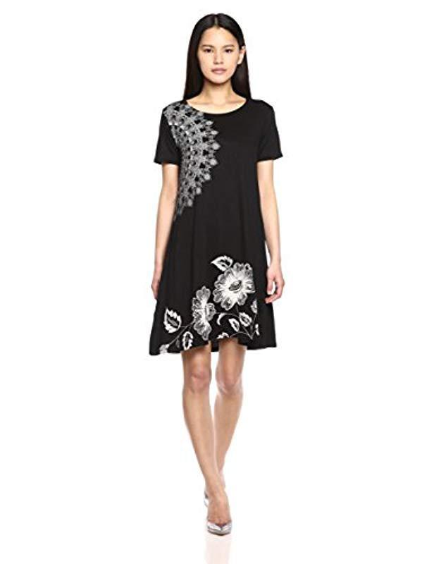 Lyst - Desigual Maribel Knitted Short Sleeve Dress in Black