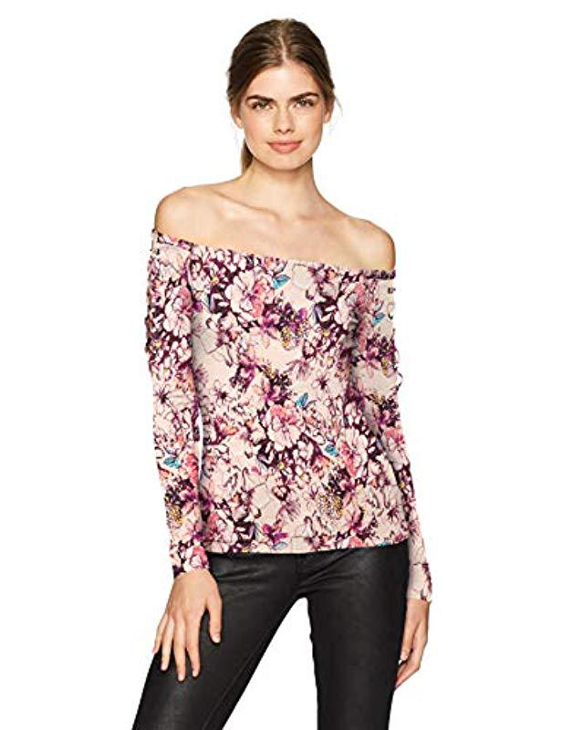 541b662dc4ef5 Lyst - Guess Long Sleeve Catrina Off Shoulder Lace Up Top in Pink