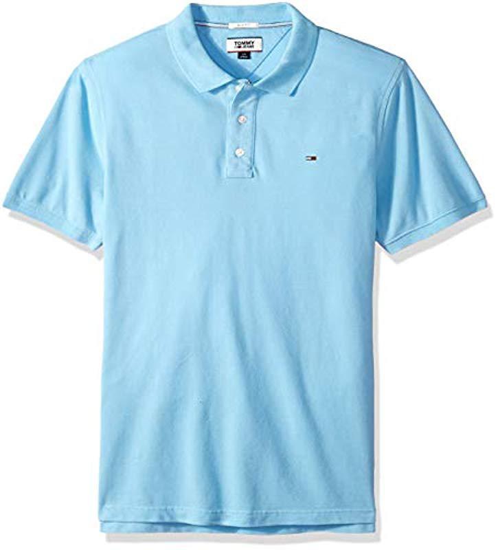 82ab574b Tommy Hilfiger. Men's Blue Polo Shirt Slim Fit Original Flag With Short  Sleeves