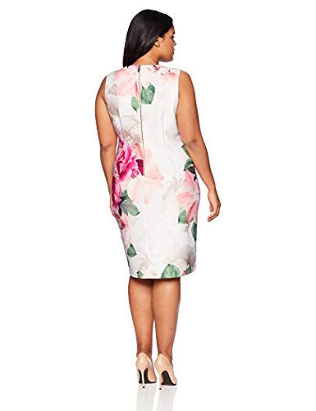 8fb040df50c Calvin Klein Plus Size Printed Scuba Dress in White - Save 25% - Lyst