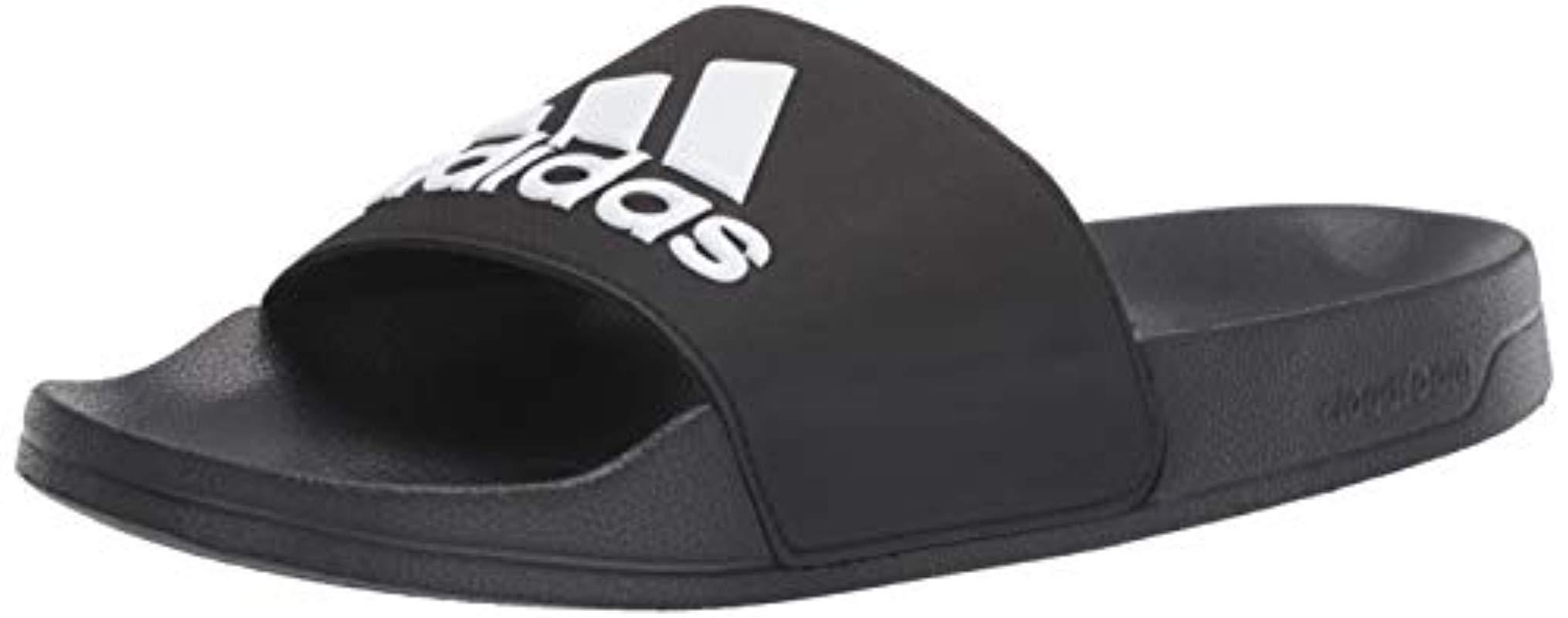 new concept c01a4 75e55 Adidas - Black Adilette Shower Logo Sandal for Men - Lyst. View fullscreen