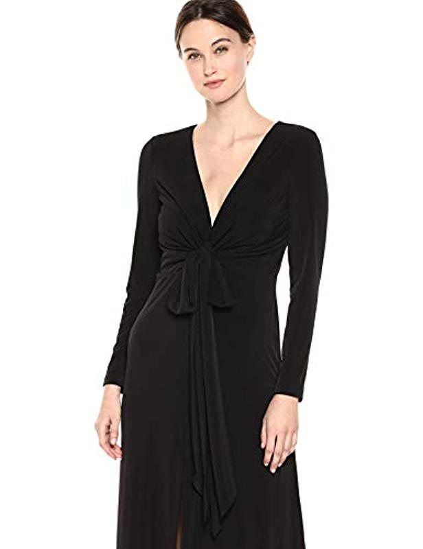 6c8b1799136d Lyst - Calvin Klein Sleeveless V Neck Gown With Twist Knot Front in Black -  Save 5%