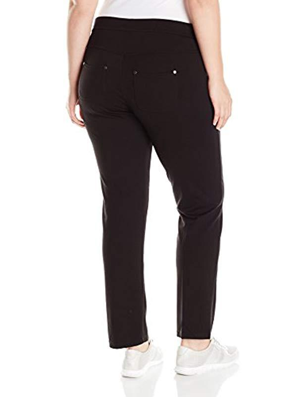 8895ba833ea Lyst - Calvin Klein Performance Ponte Back Pkt Straight Leg Pant Plus-size  in Black - Save 16%