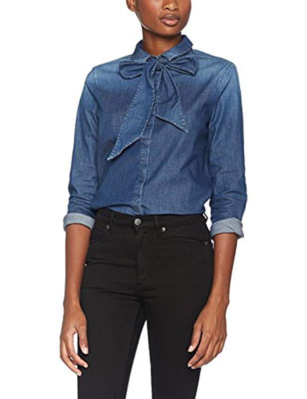 692ddf7a Lyst - Armani Jeans Long Denim Cotton Stretch Sleeve Button Down Top ...