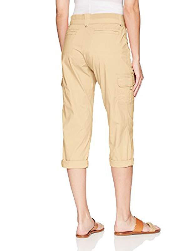 55510698 Lyst - Lee Jeans Relaxed Fit Nikki Knit Waist Cargo Capri Pant in Natural -  Save 16%