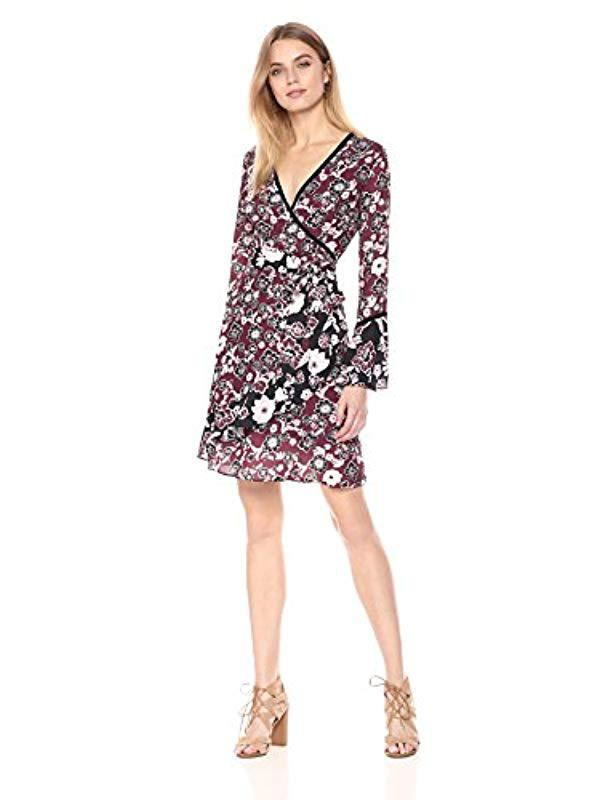 8a62bfcadeb Lyst - Ella Moon Lena Ruffled Sleeve V-neck Wrap Skirt Dress - Save 8%