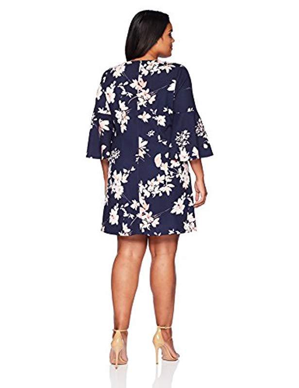 fc9545b13fce Lyst - Eliza J Plus Size Bell Sleeve Shift Dress in Blue