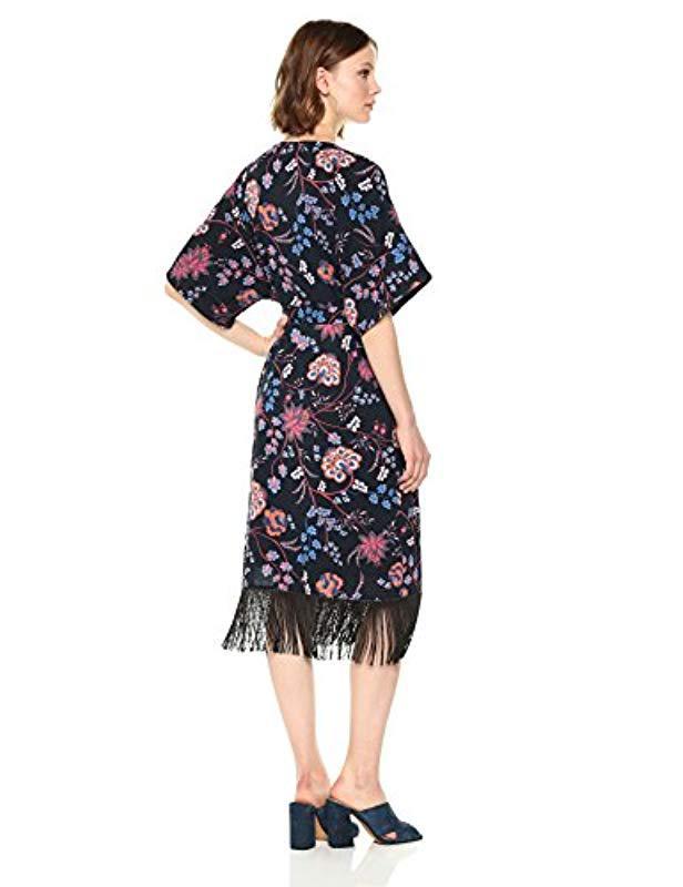 d03b3f050c2 Lyst - Ella Moon Jaya Kimono Sleeve Wrap Dress in Black - Save 4%