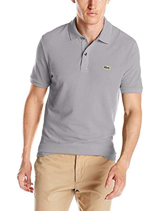 768317b29719 Lacoste. Men s Gray Classic Pique Slim Fit Short Sleeve Polo Shirt ...