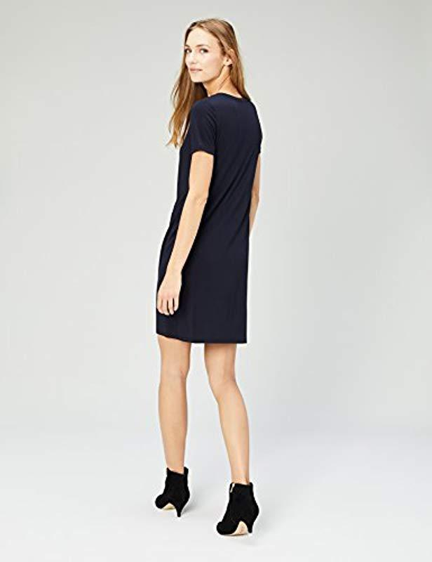 a44c518e6f0 Lyst - Daily Ritual Jersey Short-sleeve V-neck T-shirt Dress in Blue