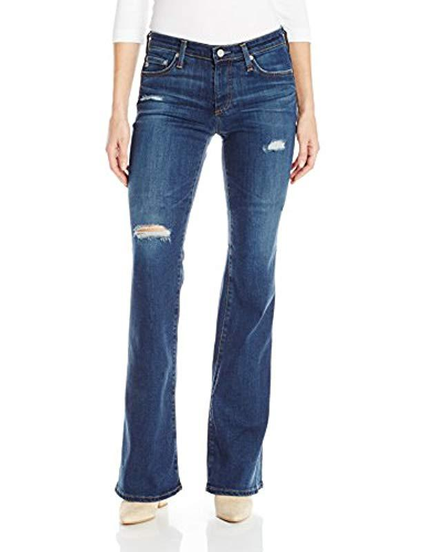 ee86fb33353 Lyst - Ag Jeans Angel Bootcut Jeans With Destruction in Blue