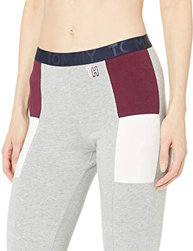 91a273fdba911c Tommy Hilfiger Retro Style Hilfiger Logo Graphic Leggings Pant Lounge Pj in  Gray - Lyst
