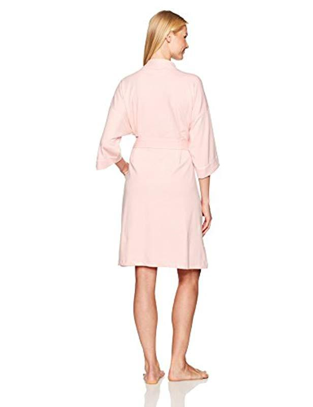 dba6d792c1 Lyst - Mae French Terry Kimono Knee-length Robe in Pink