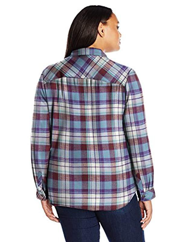 2d48ae91838 Lyst - Dickies Plus-size Long-sleeve Plaid Flannel Shirt in Blue - Save 37%