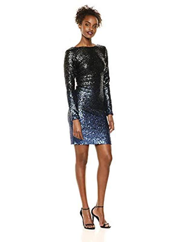 a048b2ec63ec Lyst - Dress the Population Lola Long Sleeve Sequin Dress in Black