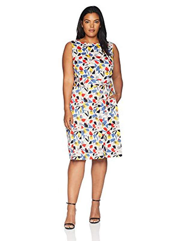 fe7fe763f00 Lyst - Anne Klein Size Plus Printed Cotton Fit   Flare Dress in White