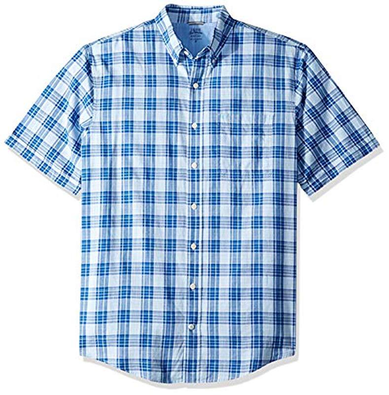 8a1a4ff58ab Izod. Men s Blue Tall Saltwater Dockside Button Down Short Sleeve Plaid  Shirt