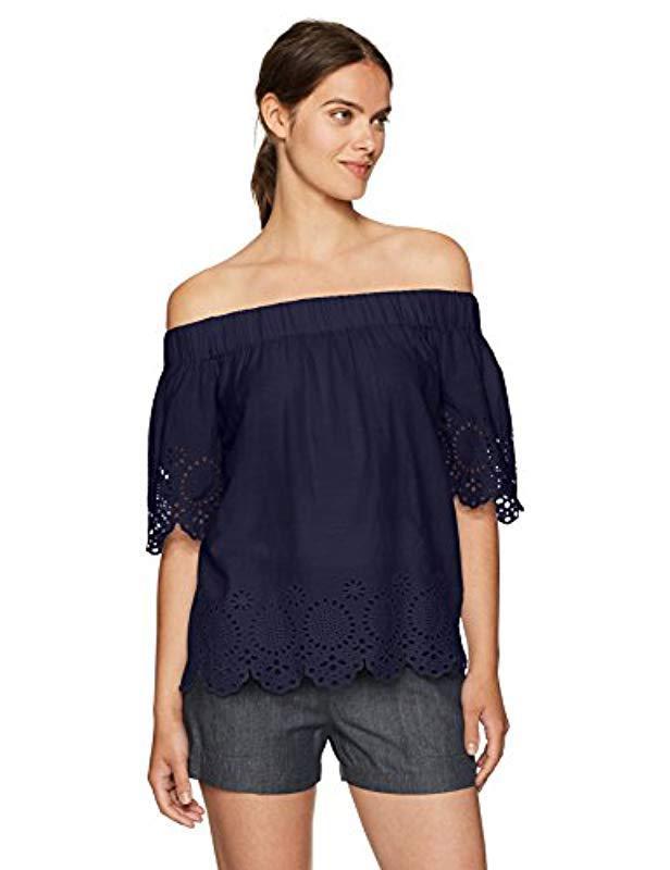 ec3dbf240ac1b Lyst - Vero Moda Mirinda Off Shoulder Top in Blue - Save 7%