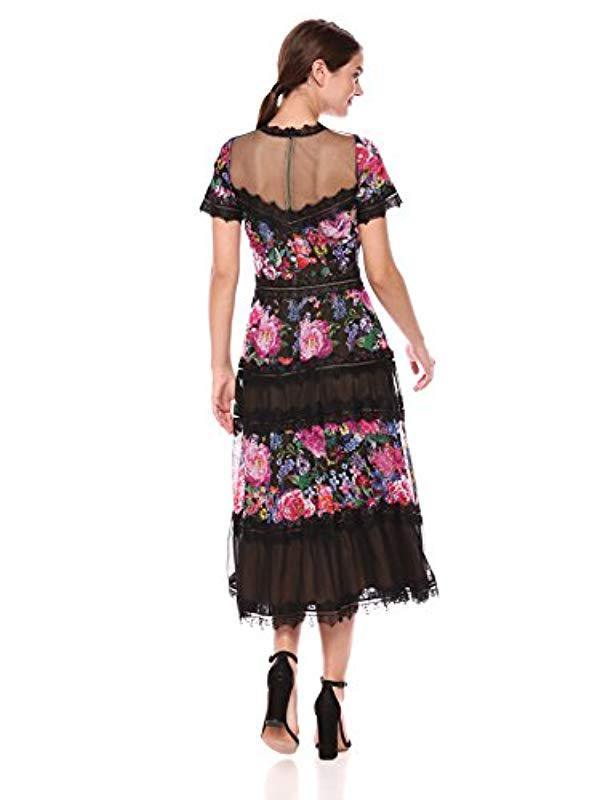 db6a7e8b8e5 Tadashi Shoji Tea Length Lace Dress in Black - Save 60% - Lyst