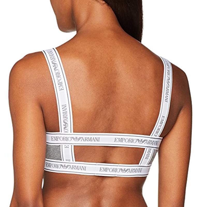 ef9d970fa3 Emporio Armani - Gray Iconic Stretch Cotton Bralette - Lyst. View fullscreen