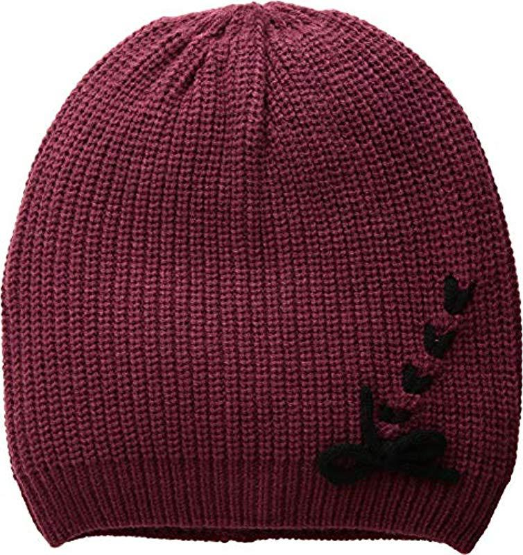 871034dfc52 Lyst - Vince Camuto Laced Up Beanie in Red