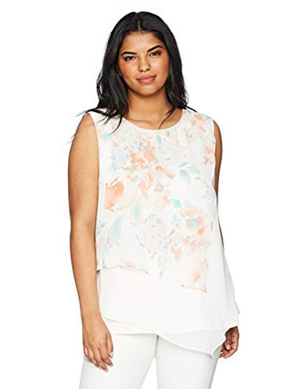 3536429ea456e Lyst - Calvin Klein Plus Size Asymmetrical Floral Print Top in White