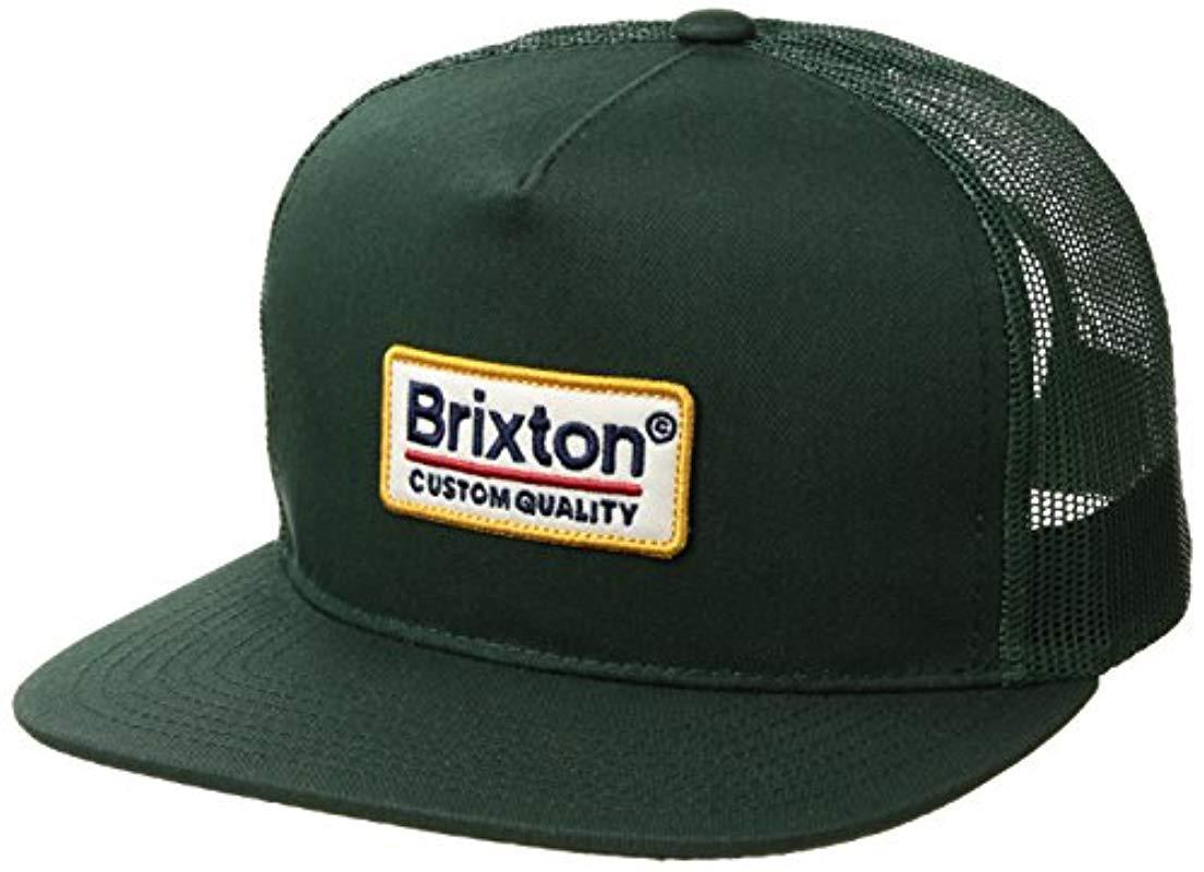 08e846e44ab Brixton - Green Palmer Medium Profile Adjustable Mesh Hat for Men - Lyst.  View fullscreen