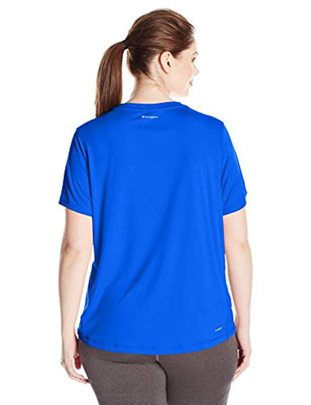 121389ff266 Lyst - Champion Plus Size Double Dry Select Tee With Freshiq in Blue