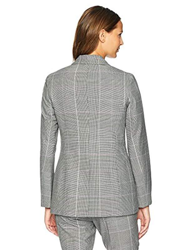 01545f03ca0 Lyst - Nine West Double Breasted Plaid Peak Lapel Jkt in Gray