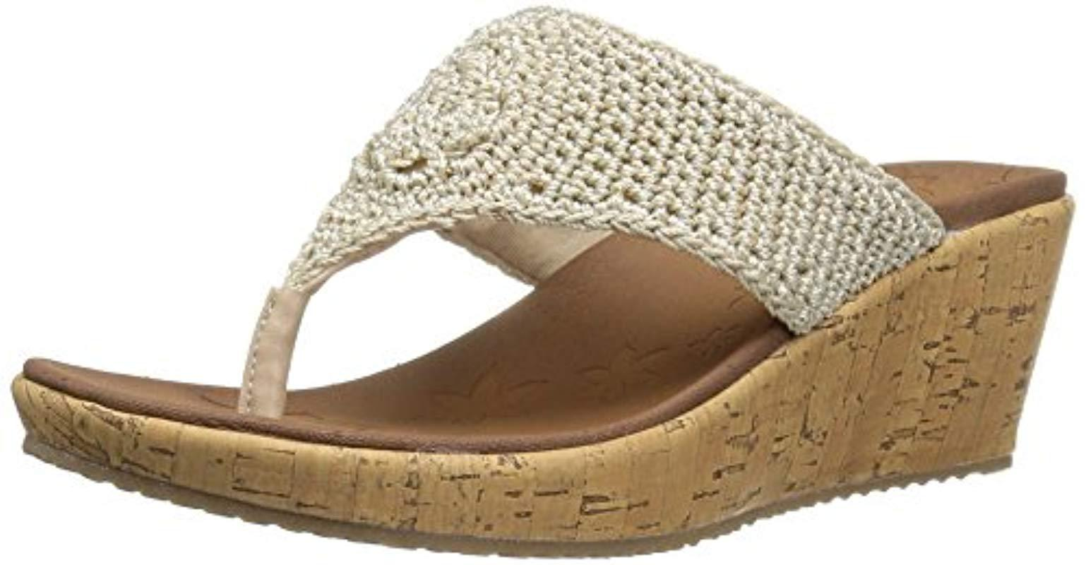 21eec5bacd31 Lyst - Skechers Cali Beverlee Wedge Sandal in Natural - Save 11%