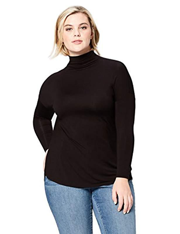 94a547a11b8 Daily Ritual. Women s Black Plus Size Jersey Long-sleeve Turtle Neck Shirt