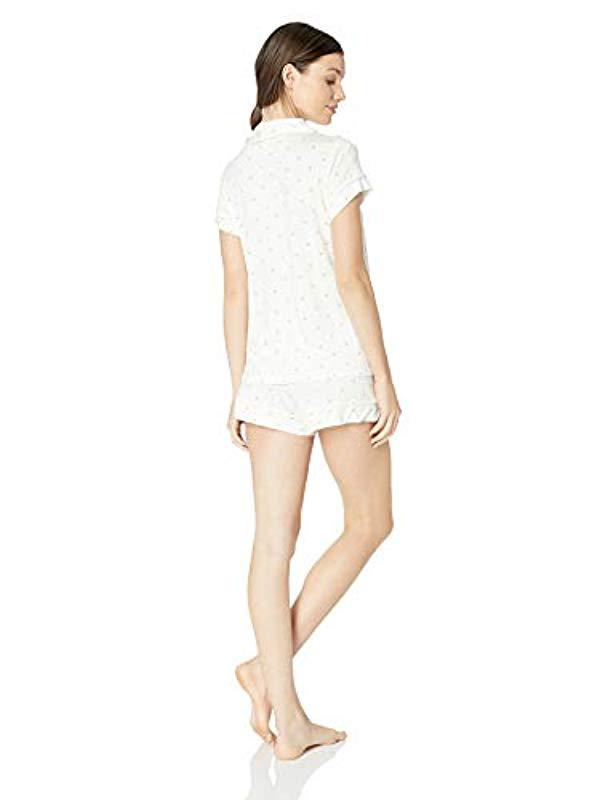8d3f07f0f94 Lyst - Eberjey Giving Palm Short Pj Set in White - Save 24%