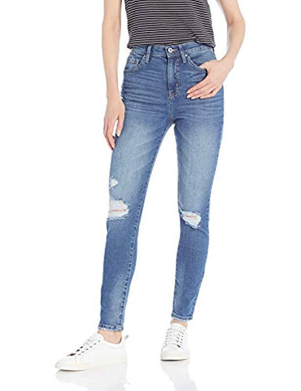 942c2266ead Lyst - Jessica Simpson Infinite High Rise Slim Straight Leg Jean in Blue