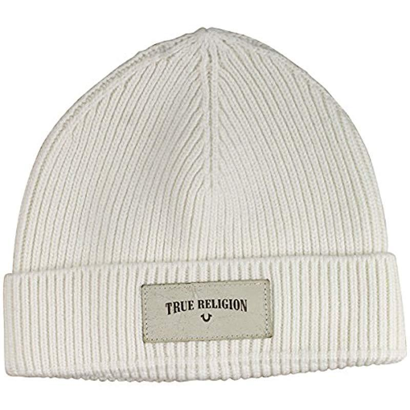 4d743398 True Religion - Natural Ribbed Knit Watchcap With Patch for Men - Lyst.  View fullscreen