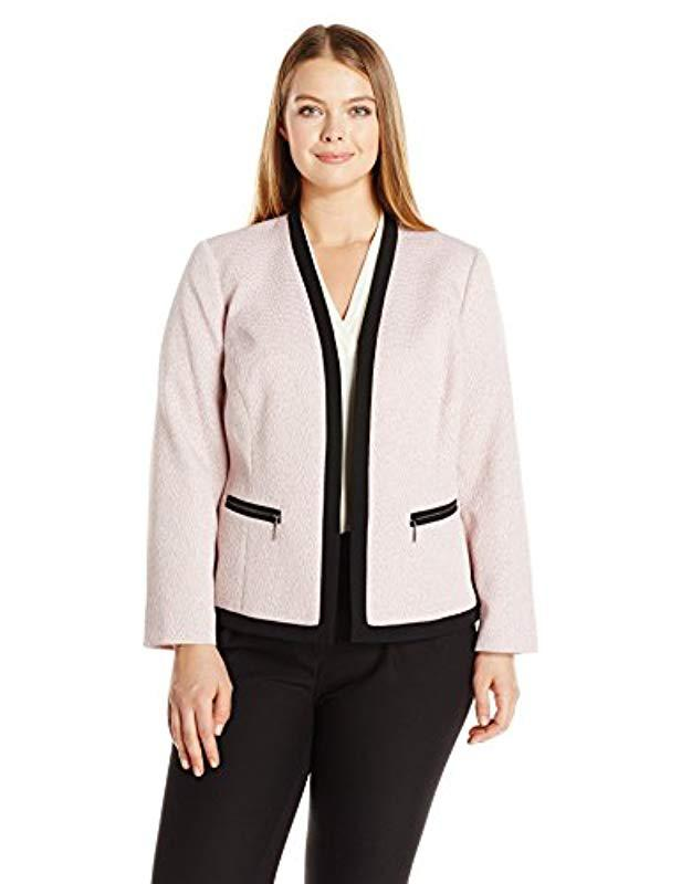 f9f87036bdc Lyst - Kasper Plus Size Framed V Neck Jacket in Pink