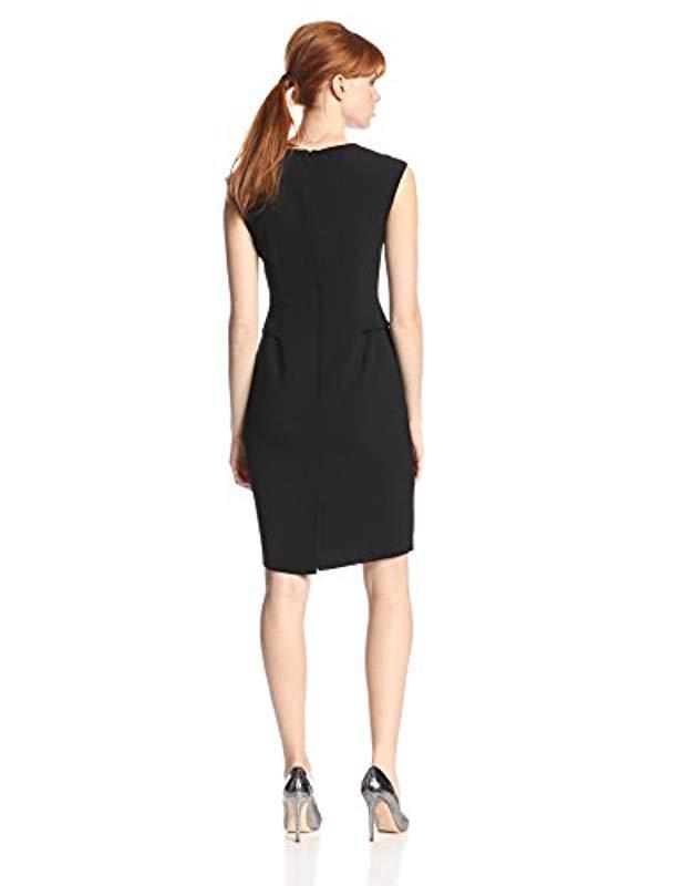 Lyst Anne Klein Cap Sleeve Peplum Dress In Black Save 530