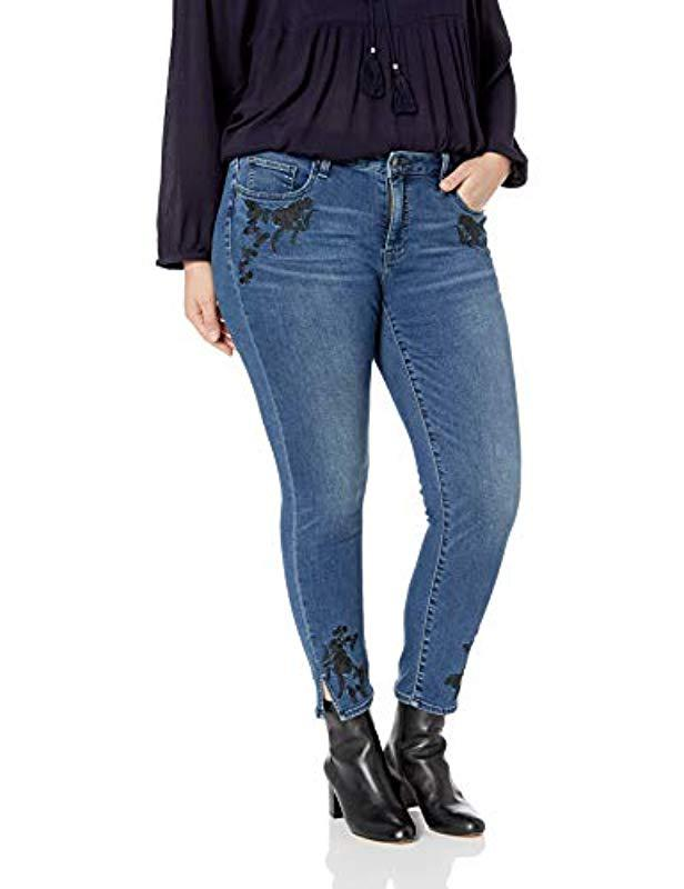 0f4cb7772ba42 Lucky Brand. Women s Blue Plus Size Mid Rise Embroidered Lolita Skinny Jean  ...