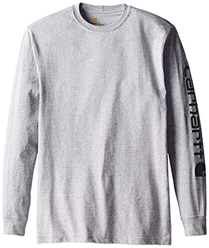 8a451c0f4383 Carhartt Signature Sleeve Logo Long Sleeve T-shirt in Gray for Men ...