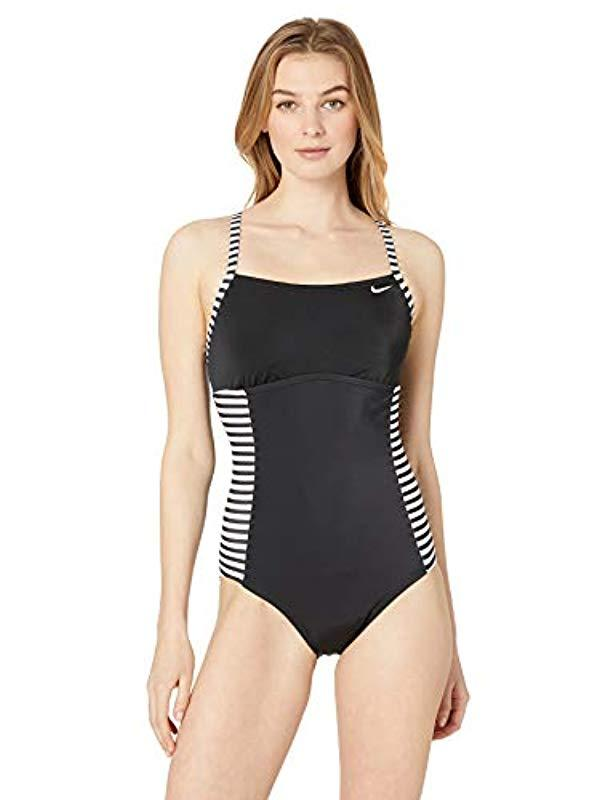 a6b90f1163c Lyst - Nike Laser Stripe Crossback One Piece Swimsuit in Black