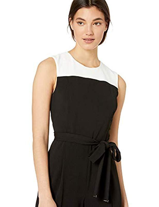fa89a180eb3 Lyst - Tommy Hilfiger Colorblock Narrow Jumpsuit in Black