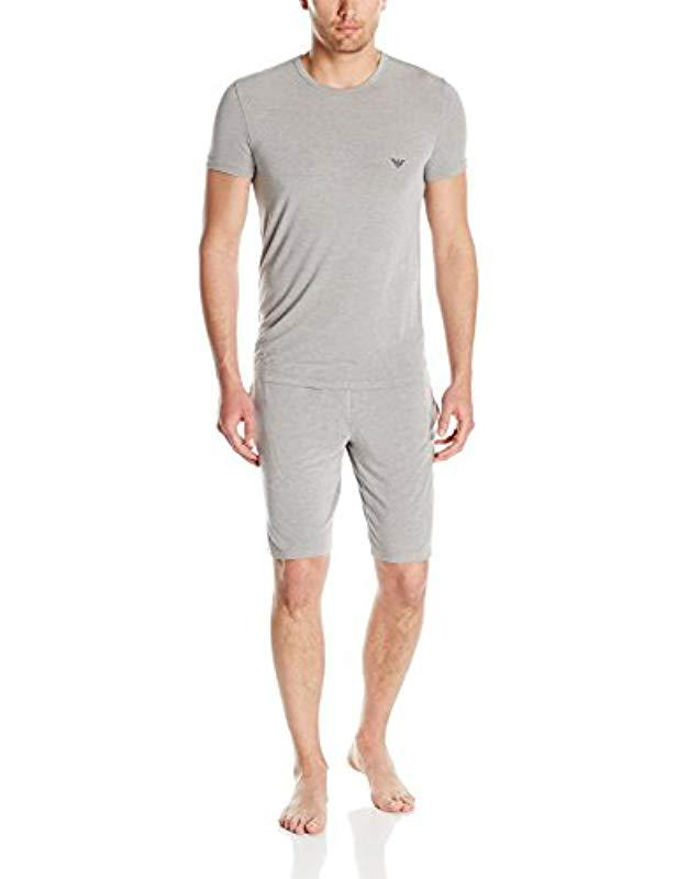 Lyst - Emporio Armani Yarn Dyed Viscose Lounge Pajamas in Gray for ... 082275b45