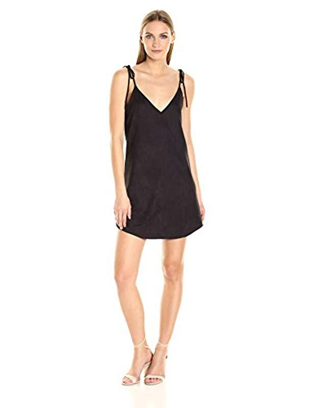 Lyst David Lerner Micro Suede Slip Dress In Black