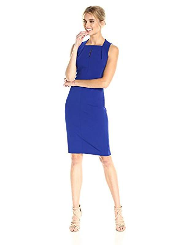 b8526b3846e Calvin Klein. Women s Blue Sleeveless Square Neck Sheath Dress ...