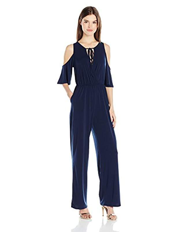 fb0b557e44a5 BCBGeneration - Blue Cold Shoulder Jumpsuit - Lyst. View fullscreen